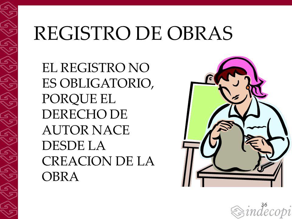 REGISTRO DE OBRAS EL REGISTRO NO ES OBLIGATORIO, PORQUE EL DERECHO DE AUTOR NACE DESDE LA CREACION DE LA OBRA.