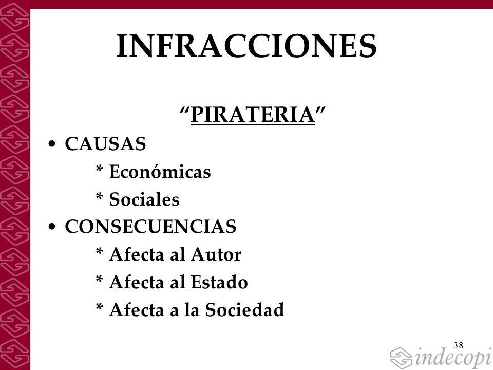 INFRACCIONES PIRATERIA CAUSAS * Económicas * Sociales CONSECUENCIAS