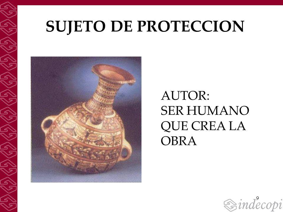 SUJETO DE PROTECCION AUTOR: SER HUMANO QUE CREA LA OBRA