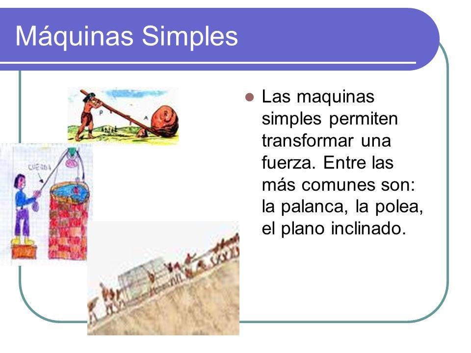 Máquinas Simples Las maquinas simples permiten transformar una fuerza.
