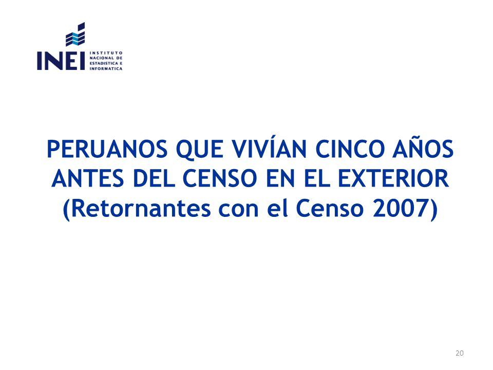 PERUANOS QUE VIVÍAN CINCO AÑOS ANTES DEL CENSO EN EL EXTERIOR (Retornantes con el Censo 2007)