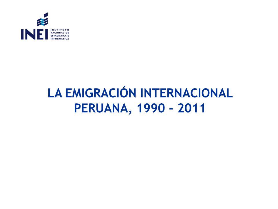 LA EMIGRACIÓN INTERNACIONAL PERUANA, 1990 - 2011