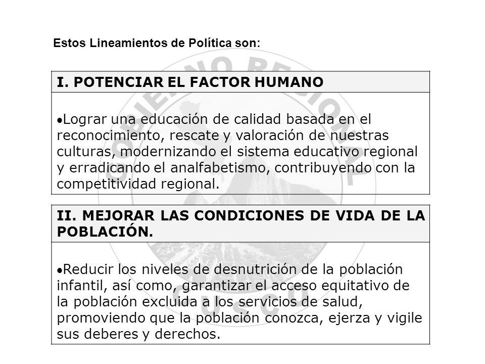 I. POTENCIAR EL FACTOR HUMANO
