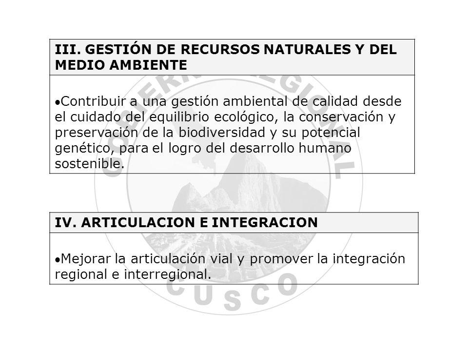 III. GESTIÓN DE RECURSOS NATURALES Y DEL MEDIO AMBIENTE