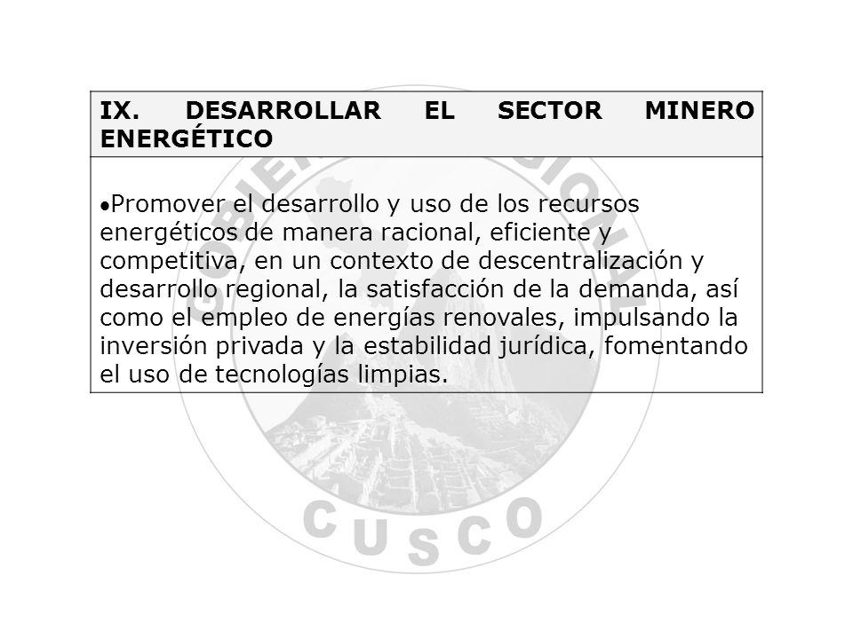 IX. DESARROLLAR EL SECTOR MINERO ENERGÉTICO