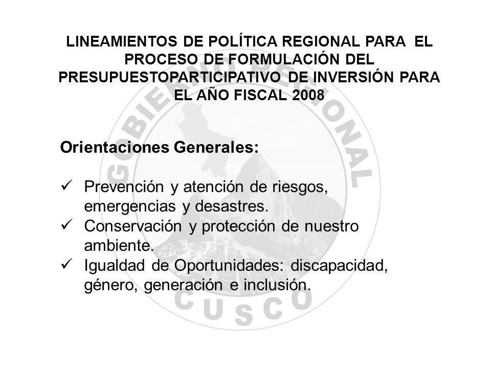 Orientaciones Generales: