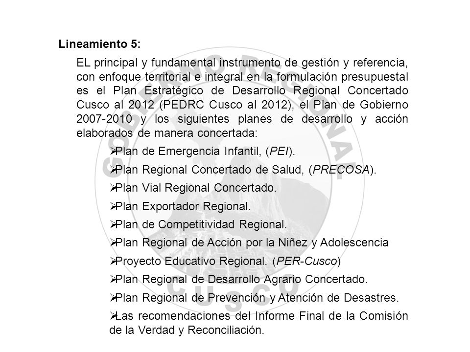 Lineamiento 5: