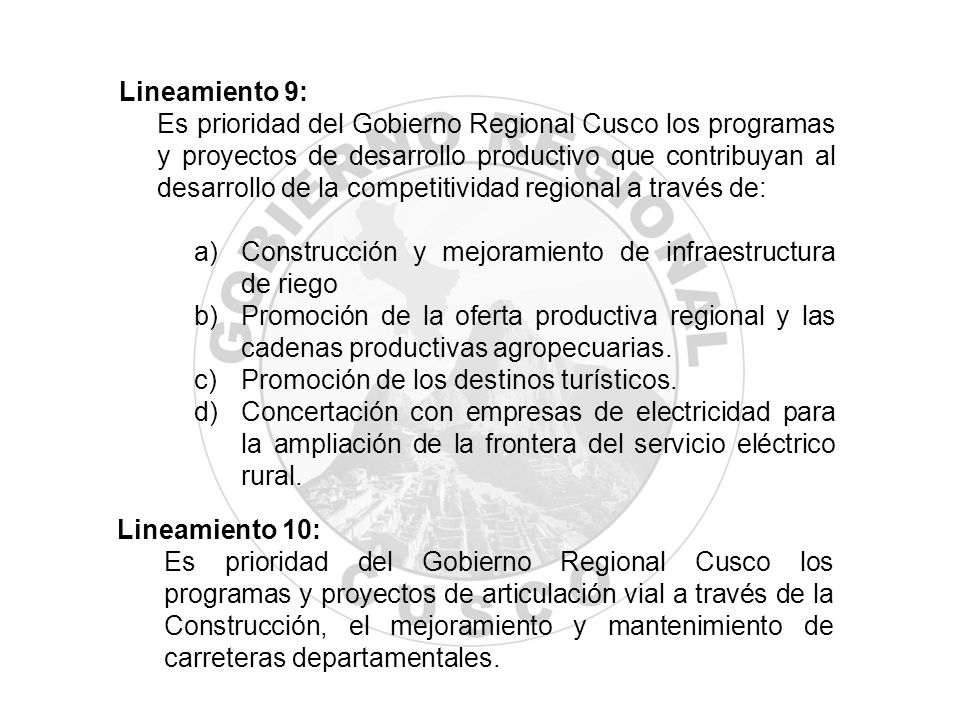 Lineamiento 9: