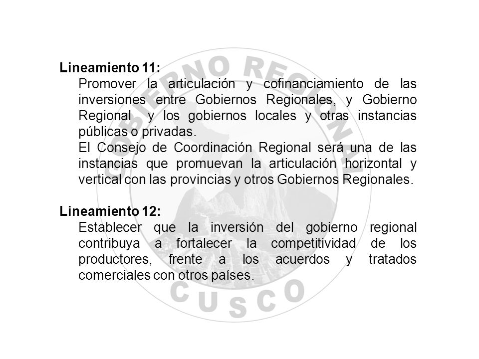 Lineamiento 11: