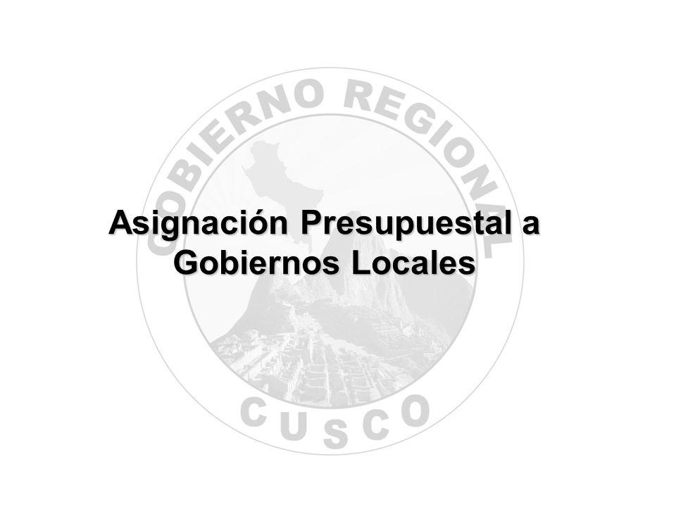 Asignación Presupuestal a Gobiernos Locales