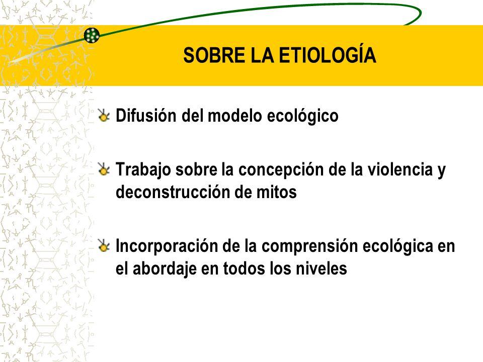 SOBRE LA ETIOLOGÍA Difusión del modelo ecológico