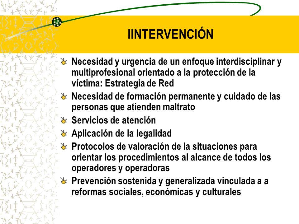 IINTERVENCIÓN Necesidad y urgencia de un enfoque interdisciplinar y multiprofesional orientado a la protección de la víctima: Estrategia de Red.