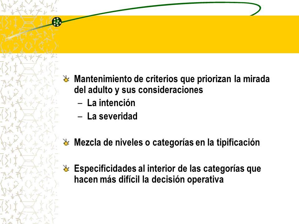 Mantenimiento de criterios que priorizan la mirada del adulto y sus consideraciones