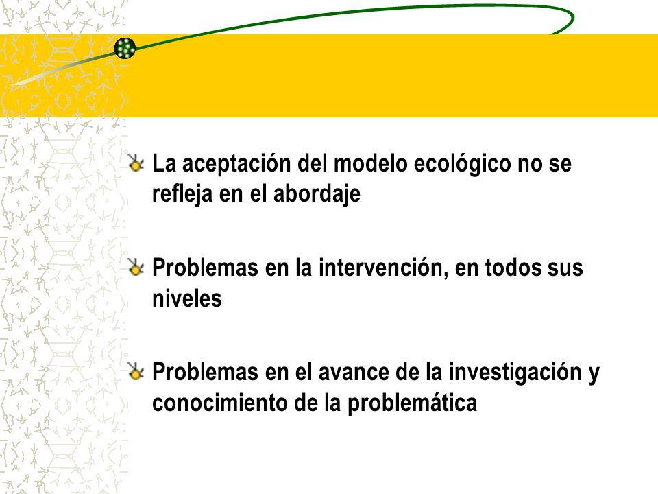 La aceptación del modelo ecológico no se refleja en el abordaje