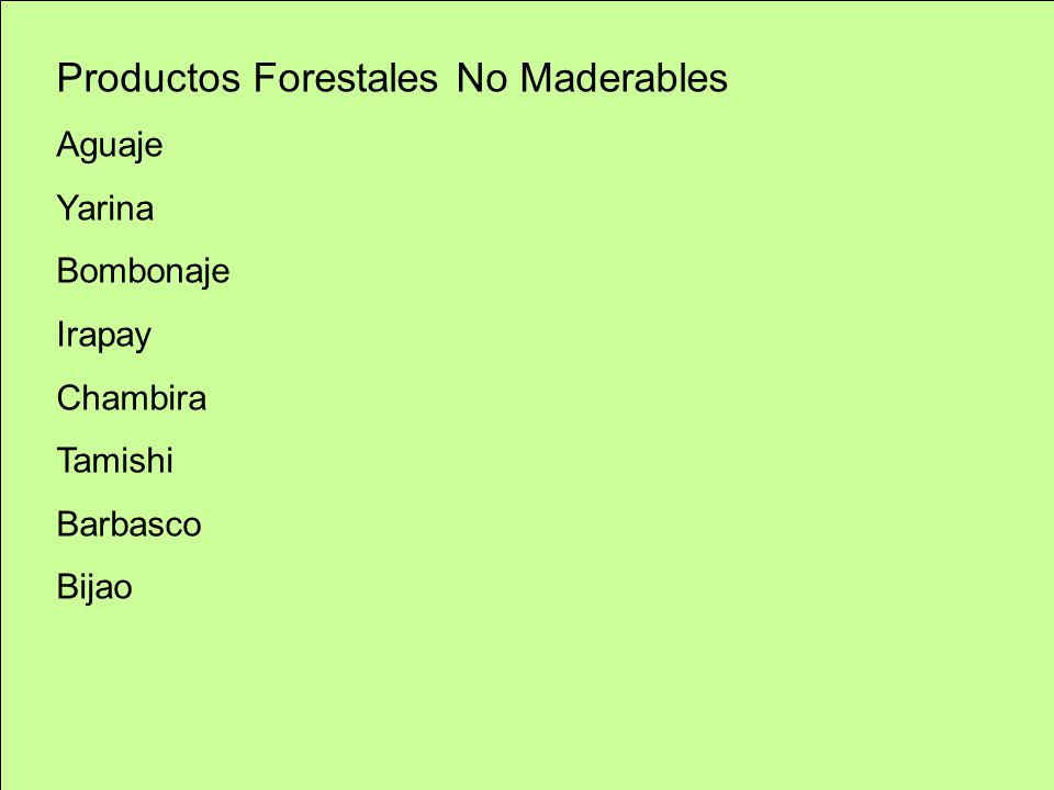 Productos Forestales No Maderables