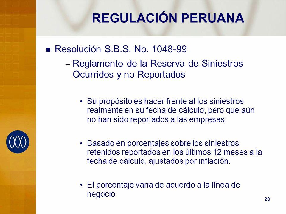 REGULACIÓN PERUANA Resolución S.B.S. No. 1048-99