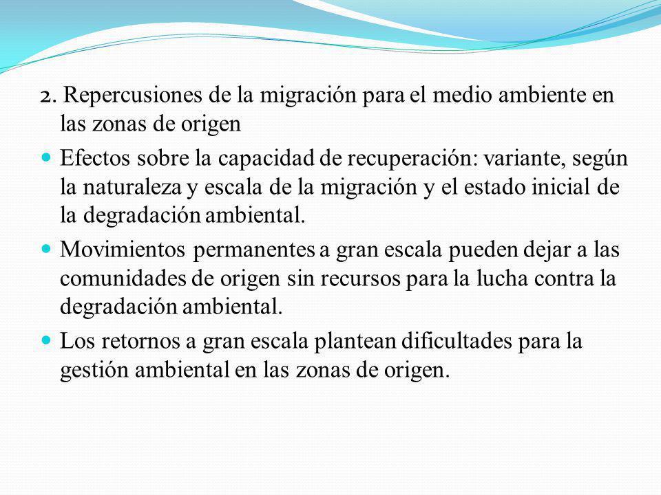 2. Repercusiones de la migración para el medio ambiente en las zonas de origen
