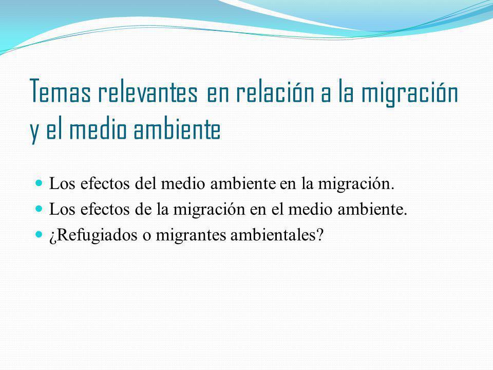 Temas relevantes en relación a la migración y el medio ambiente
