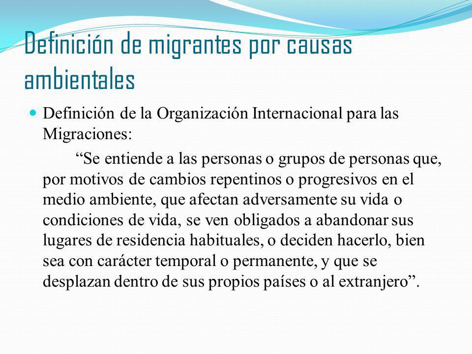 Definición de migrantes por causas ambientales