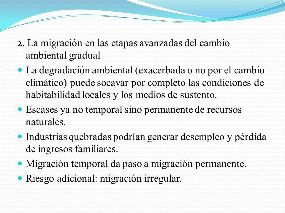 2. La migración en las etapas avanzadas del cambio ambiental gradual