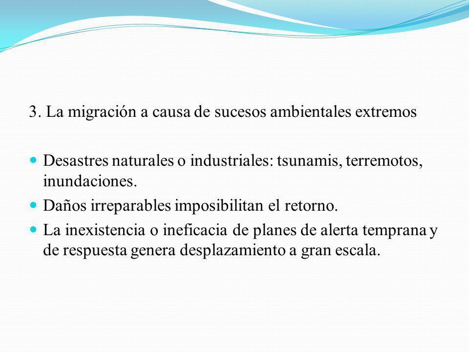 3. La migración a causa de sucesos ambientales extremos