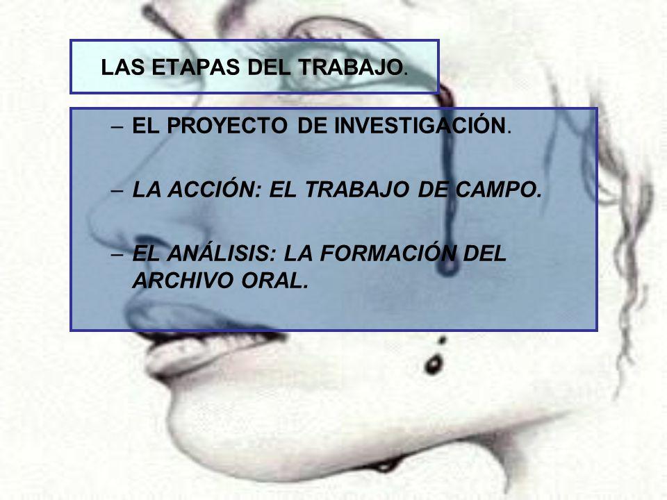 LAS ETAPAS DEL TRABAJO. EL PROYECTO DE INVESTIGACIÓN.