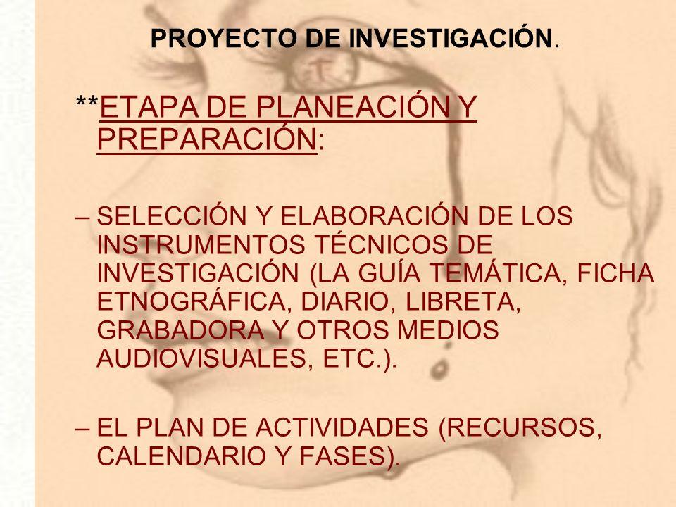 PROYECTO DE INVESTIGACIÓN.
