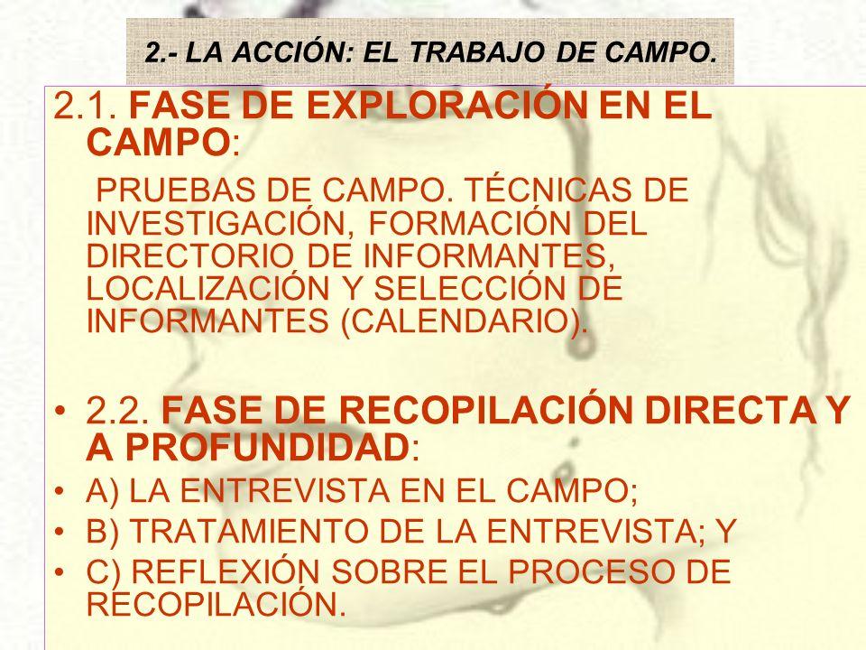 2.- LA ACCIÓN: EL TRABAJO DE CAMPO.