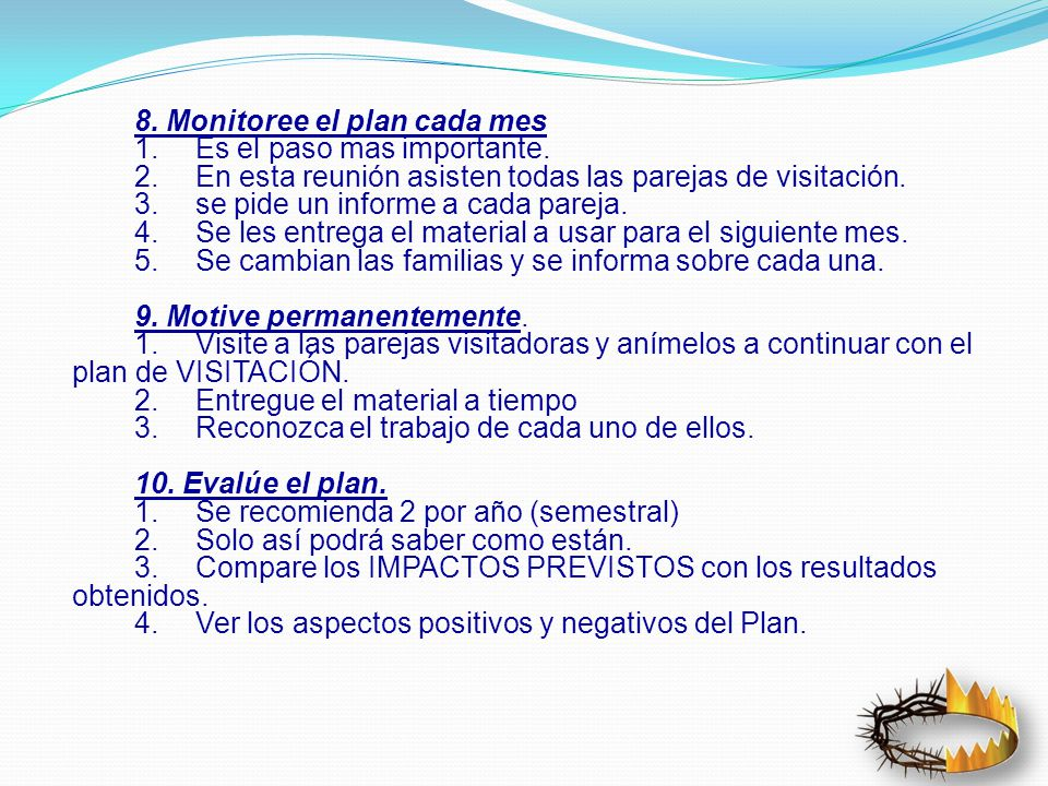 8. Monitoree el plan cada mes