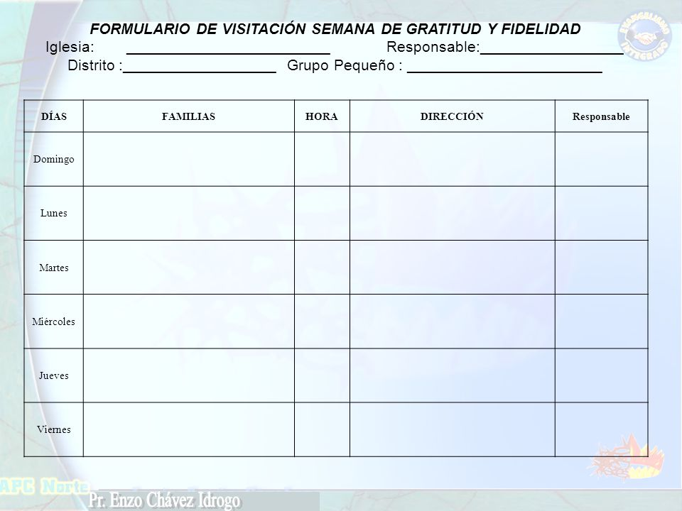 FORMULARIO DE VISITACIÓN SEMANA DE GRATITUD Y FIDELIDAD