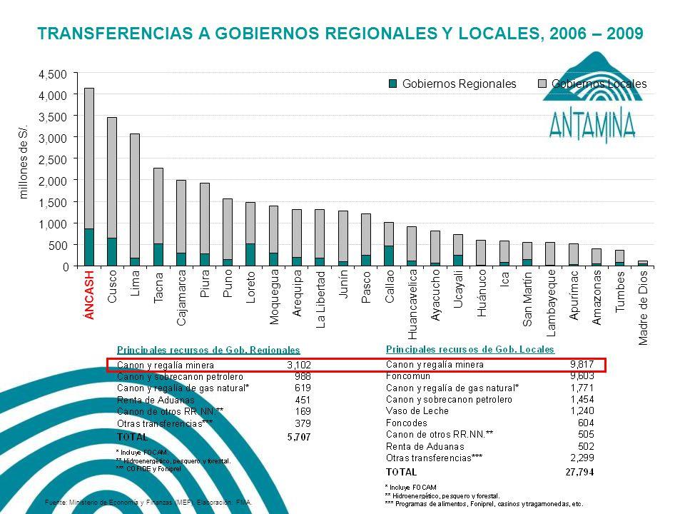 TRANSFERENCIAS A GOBIERNOS REGIONALES Y LOCALES, 2006 – 2009