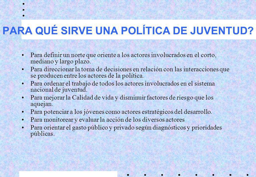 PARA QUÉ SIRVE UNA POLÍTICA DE JUVENTUD