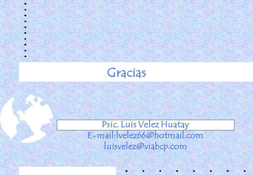 Gracias Psic. Luis Velez Huatay E-mail:lvelez66@hotmail.com