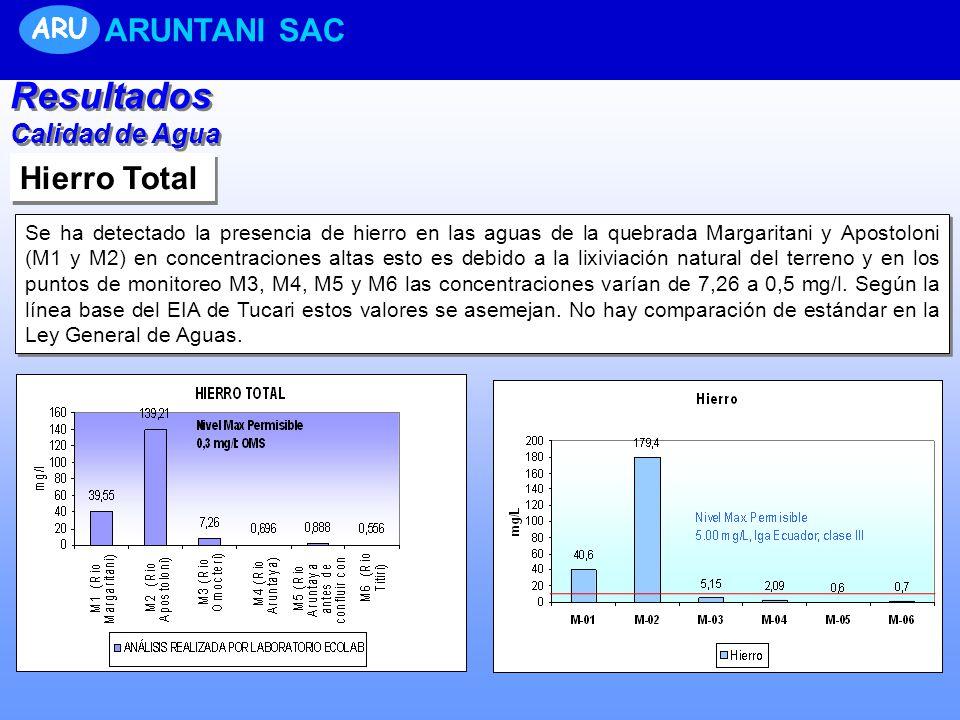 Resultados ARUNTANI SAC Hierro Total ARU Calidad de Agua