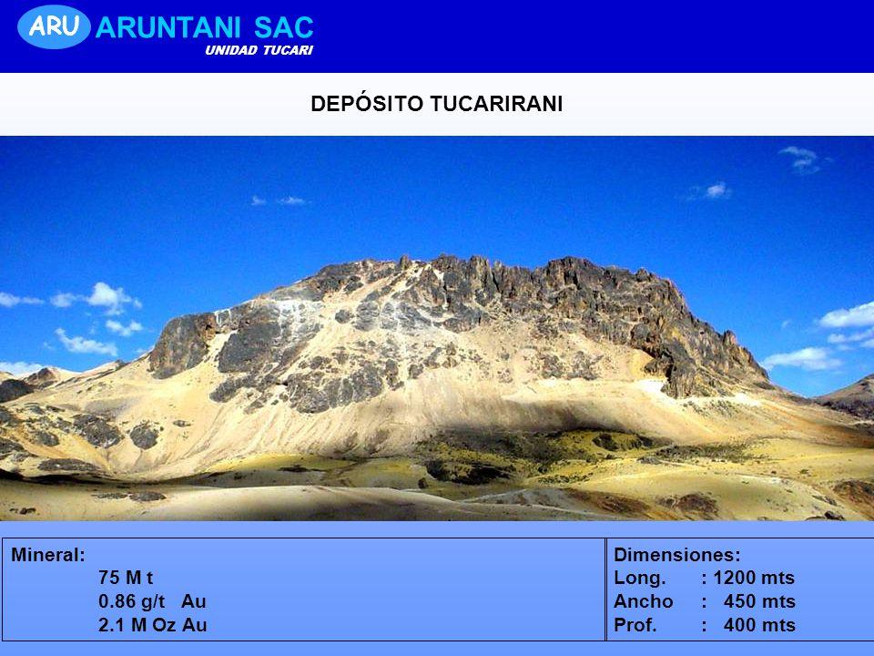 ARUNTANI SAC ARU DEPÓSITO TUCARIRANI Mineral: 75 M t 0.86 g/t Au