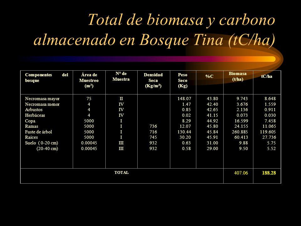 Total de biomasa y carbono almacenado en Bosque Tina (tC/ha)