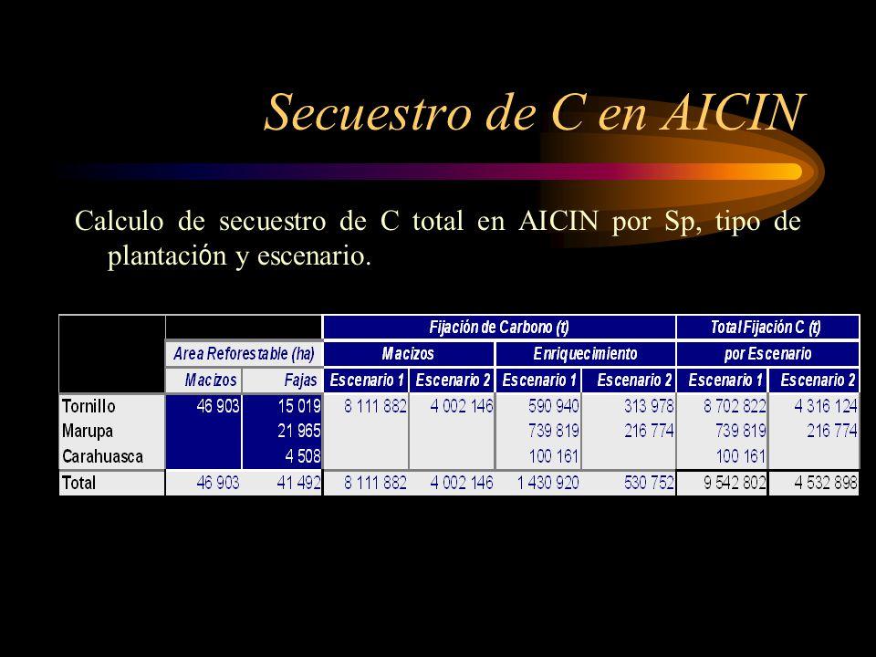 Secuestro de C en AICIN Calculo de secuestro de C total en AICIN por Sp, tipo de plantación y escenario.