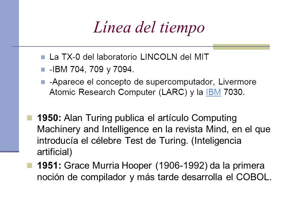 Línea del tiempo La TX-0 del laboratorio LINCOLN del MIT. -IBM 704, 709 y 7094.