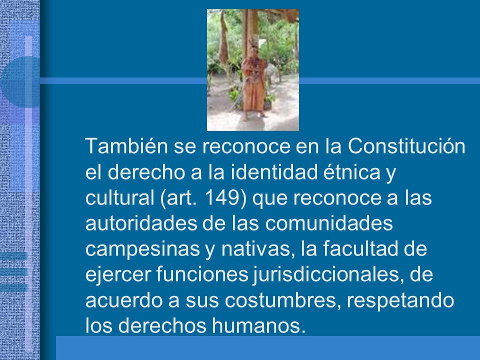 También se reconoce en la Constitución el derecho a la identidad étnica y cultural (art.