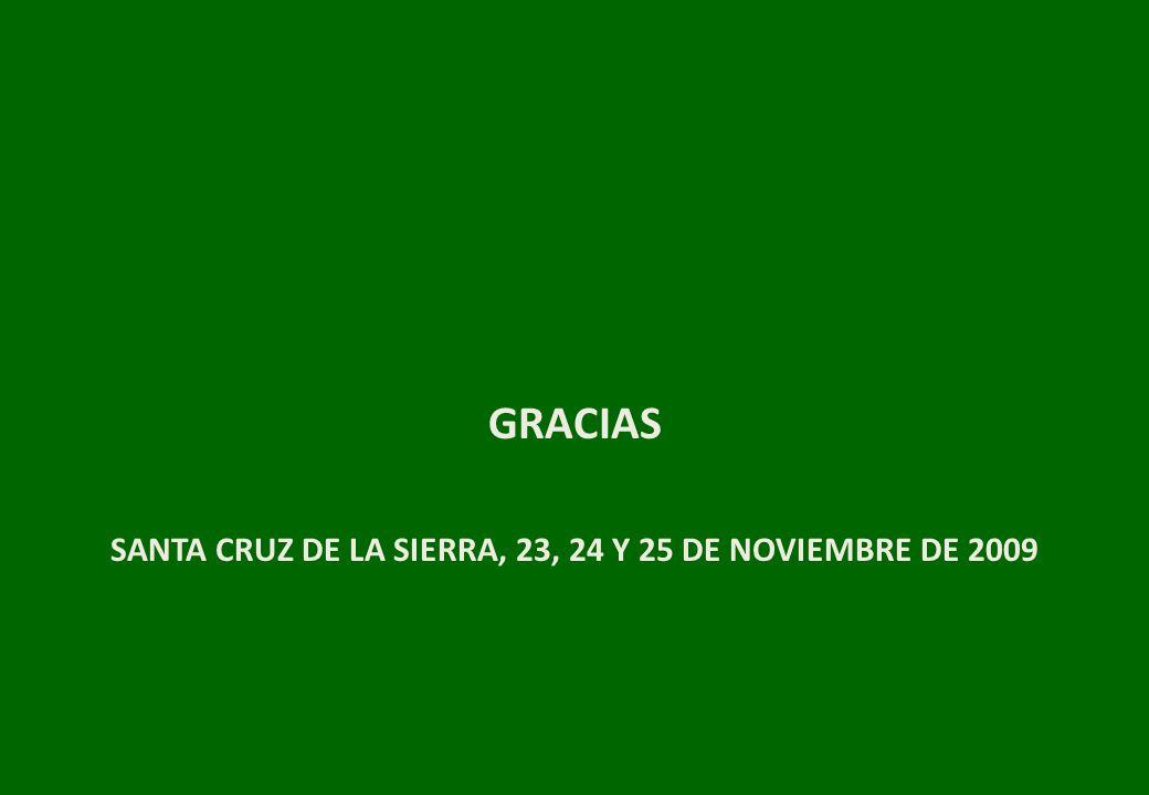 SANTA CRUZ DE LA SIERRA, 23, 24 Y 25 DE NOVIEMBRE DE 2009