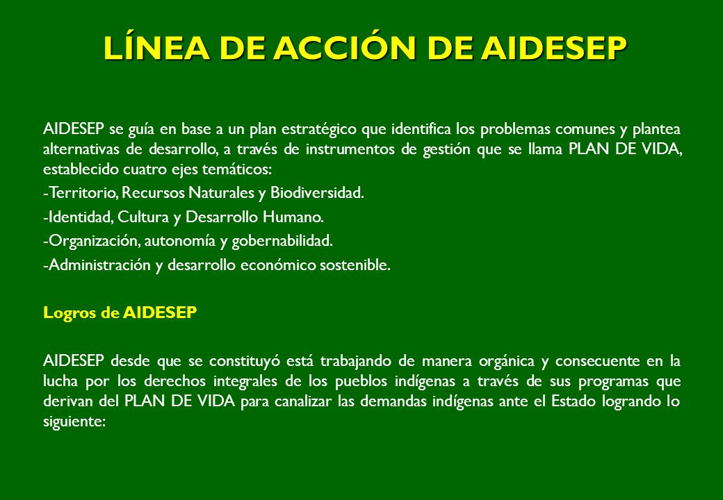 LÍNEA DE ACCIÓN DE AIDESEP