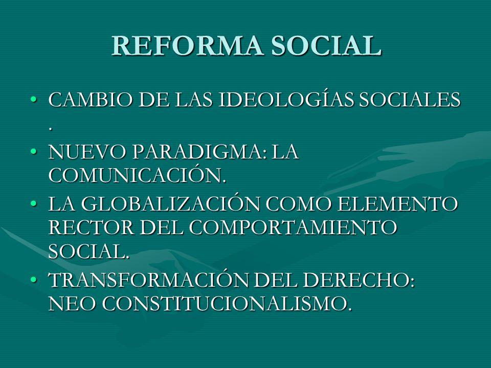 REFORMA SOCIAL CAMBIO DE LAS IDEOLOGÍAS SOCIALES .