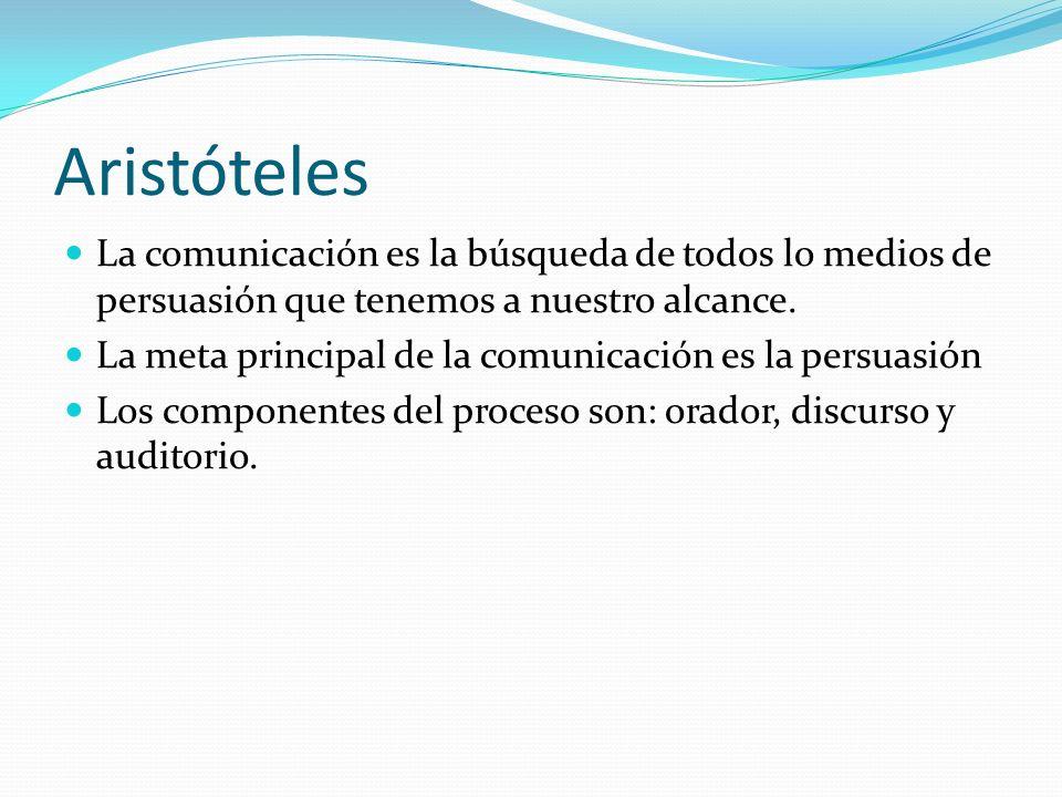 Aristóteles La comunicación es la búsqueda de todos lo medios de persuasión que tenemos a nuestro alcance.