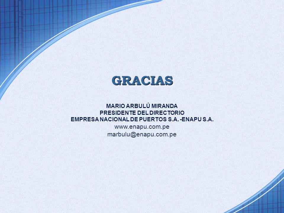 GRACIAS MARIO ARBULÚ MIRANDA PRESIDENTE DEL DIRECTORIO EMPRESA NACIONAL DE PUERTOS S.A.