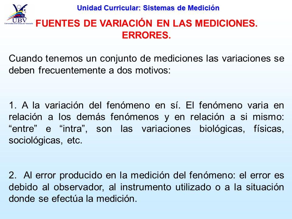 FUENTES DE VARIACIÓN EN LAS MEDICIONES. ERRORES.