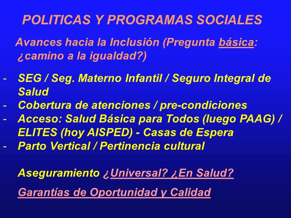 POLITICAS Y PROGRAMAS SOCIALES