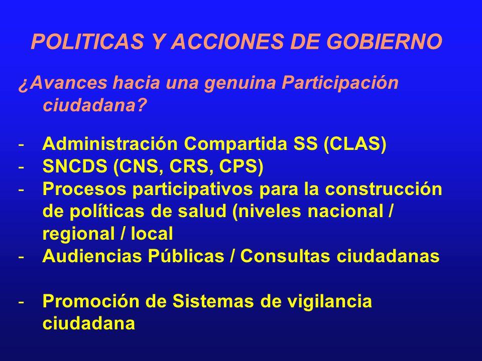 POLITICAS Y ACCIONES DE GOBIERNO