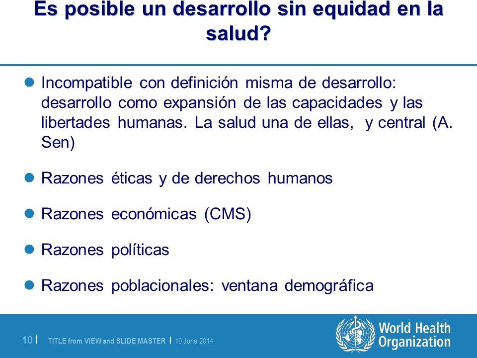 Es posible un desarrollo sin equidad en la salud