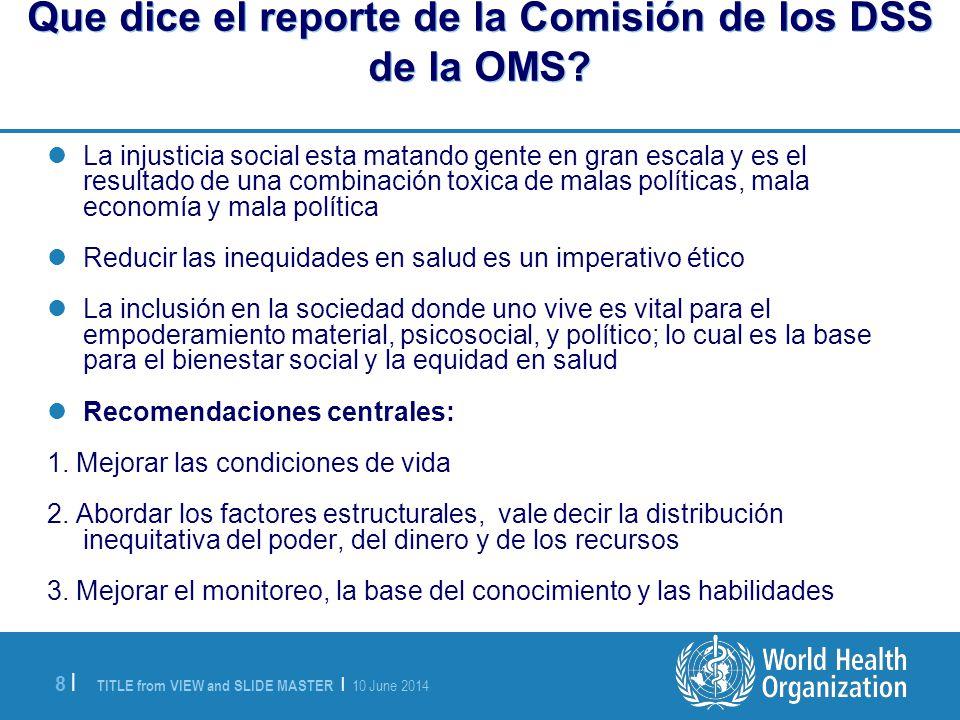 Que dice el reporte de la Comisión de los DSS de la OMS