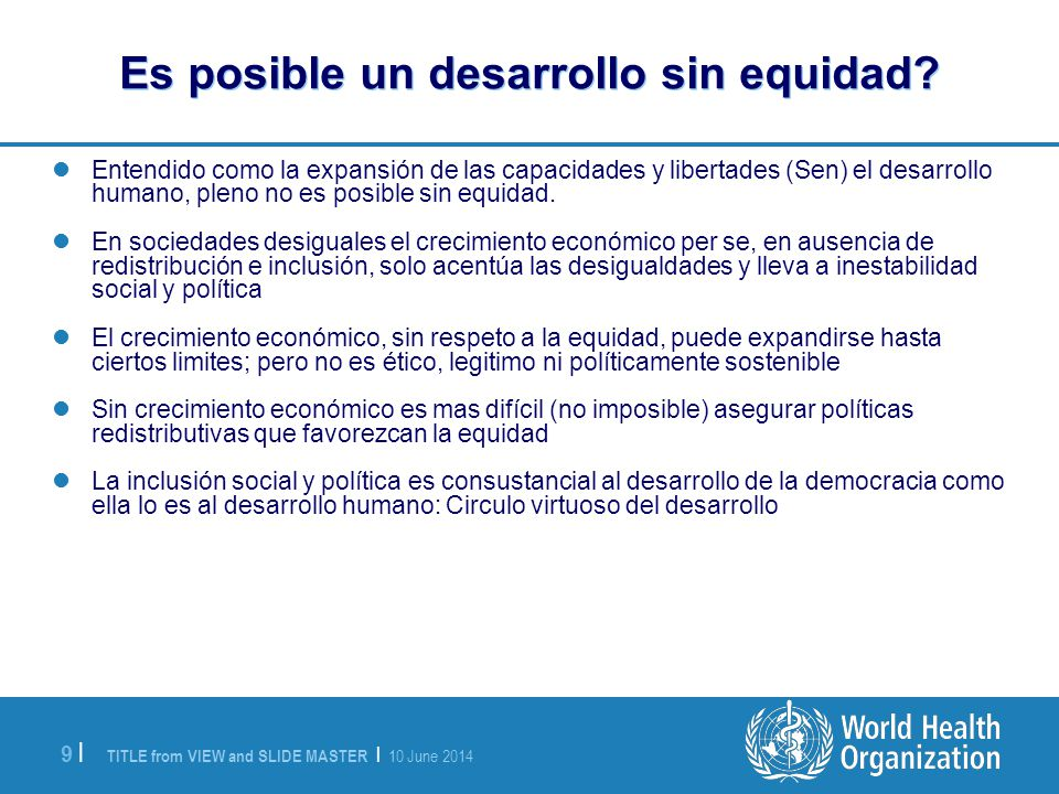 Es posible un desarrollo sin equidad